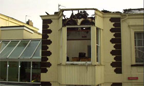 Hotel after electrical fire destroys roof